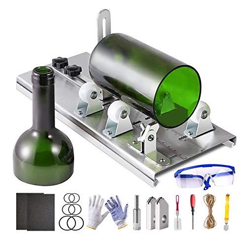 Souarts Glasschneider für Flaschen mit Skala, Edelstahl Flaschenschneider mit 5 Verstellbares Rad, Glasflaschenschneider Set mit Handschuhe Gummi Ring Garn Schleifpapier für runden Flaschen
