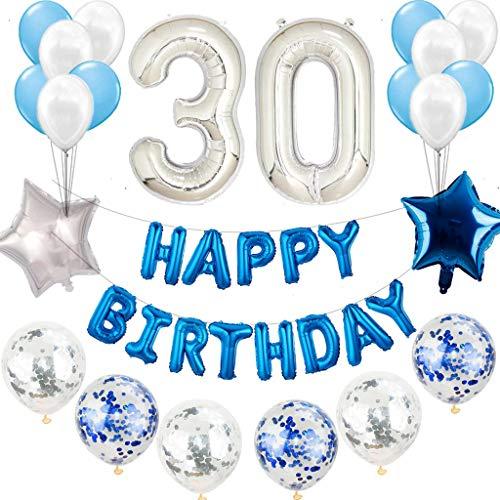 30° compleanno decorazione blu argento da uomo, decorazione di compleanno uomo blu bianco set 30° compleanno decorazione blu argento 30 anni per uomo Happy Birthday ghirlande