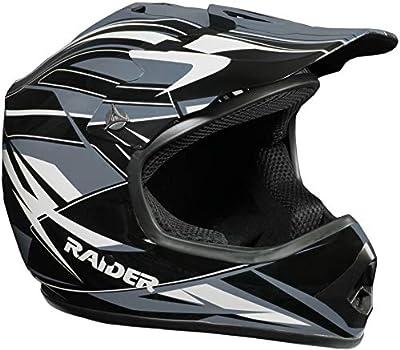 Raider 2131913 GX3 Unisex-Child MX Off-Road Helmet (Black/Silver, Youth Small)