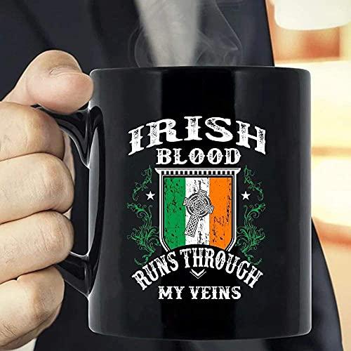 Taza de café La sangre irlandesa corre por mis venas Bandera de Irlanda, Orgulloso irlandés, Familia de raíces irlandesas, Sangre irlandesa, Culturas de Irlanda, Regalo del día de San Patricio