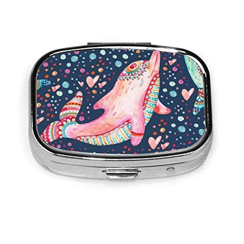 JOJOshop Kleurrijk Patroon met Hartjes Schilderij Pil Box/Pill Case-Vierkante Pill Box/Case-Twee-Compartiment Pill Box/Pill Case Eén maat Mooie Dolfijnen Patroon