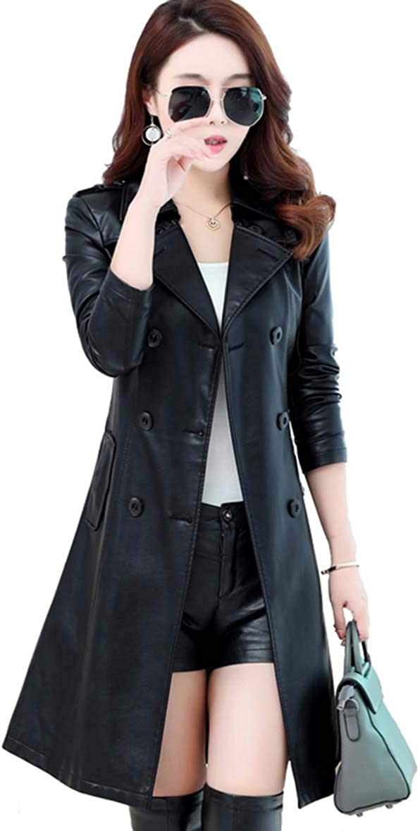 Womens Lapel PU Faux Leather Jacket Suit Coat Fall Winter Outerwears Trench Coat for Women