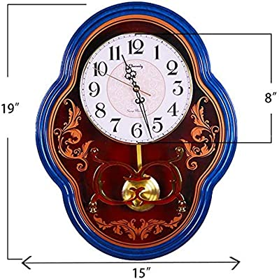 Beesealy Wall Clock, Silent Wall Clock, Retro Clock, Silent Pendulum Movement, No Ticking, Suitable for Living Room/Bedroom Decoration (Blue)