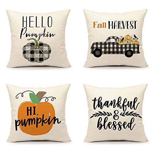 4TH Emotion Fall Thanksgiving Pillow Covers 18x18 Set of 4 Farmhouse Autumn Decorations Buffalo Pumpkin Thankful Cushion Case for Sofa Couch Cotton Linen
