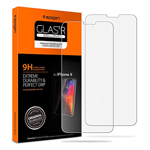 Spigen Tempered Glass Screen Protector Designed for iPhone Xs (2018) / iPhone X (2017) (2 Pack) - Sensor Protection