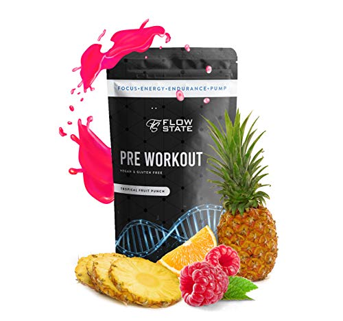 Flow State Pre Workout Energy Drink Powder Supplement – Extreme Focus, Clean Long-Lasting Energy and Great Taste – No Crash or Itchy Tingling Sensation - Ingredients and Dosages Supported by Evidence