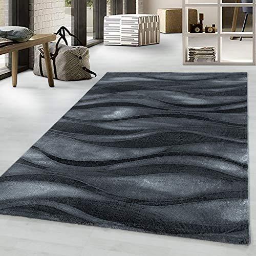 Ayyildiz Designer Kurzflor Teppich modern Design Wohnzimmer meliert kariert Höhe 9 mm, Schadstoffgeprüft Öko Tex Standard 100, Größe:160 x 230 cm, Farbe:Schwarz