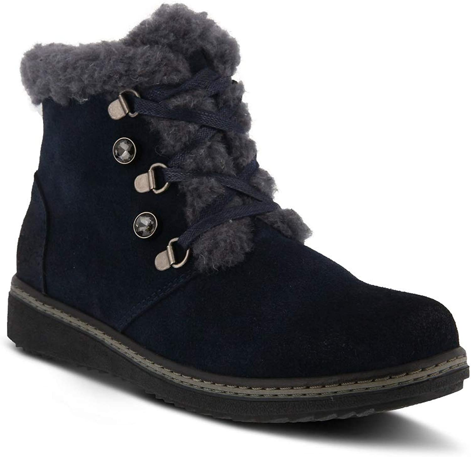 Spring Step Women's Tristan Bootie   color Navy   Suede Bootie