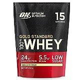 Optimum Nutrition Gold Standard 100% Whey Proteína en Polvo, Glutamina y Aminoácidos Naturales, BCAA, Helado de Vainilla, 15 Porciones, 450g, Embalaje Puede Variar