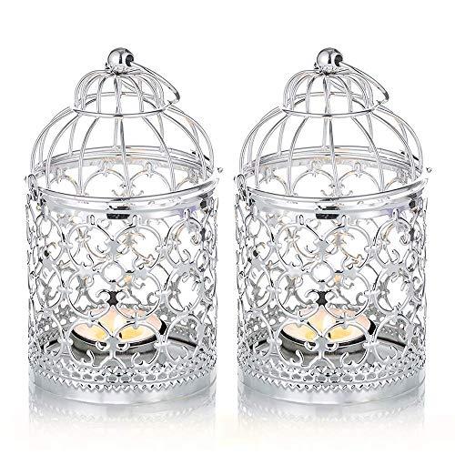 Portavelas de metal hueco para jaula de pájaros, soporte decorativo de hierro para colgar linterna, portavelas de té para fiestas de boda (color: plata, tamaño: 2 unidades)
