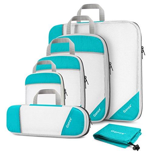 Compression Packing Cube 6-teilig, Gonex robust & langlebig | Verpackungswürfel, Packtaschen, Kleidertasche, Koffer-Organizer, Aufbewahrungstasche  - Blau