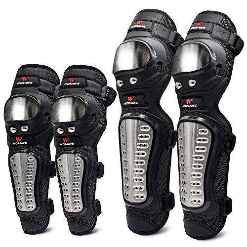 WOSAWE Elbow Knee Pads Adult MTB Breathable Knee Long Shin Guard Protective Gear Sets for Racing Motocross Bicycle Skate Skateboard (Long Elbow & Knee Pads)