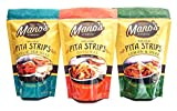 Mano's Authentic Pita Chip Strips Variety Pack - Healthy, Thin, Bite Sized Pita Chips - 12 Pack -...
