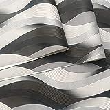 Geométrico Papel Tapiz De lujo negro del blanco gris metálico de textura en 3D Onda del papel pintado pared moderna de la calidad del rollo de papel Papel de Pared