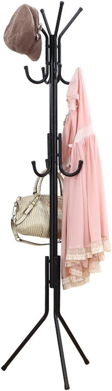 Coat Rack Iron Floor-Standing Coat Rack,Hooks Fashion Hanging Clothes Rack Three Floors 6 Hooks (color   Black)