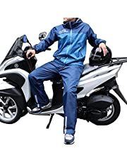 LOGOS リュック対応 メンズ レインスーツ 上下 アディ M~3L (グリーン/ブルー) バックパック/自転車/バイク/原付/スクーター/リュック/オートバイ