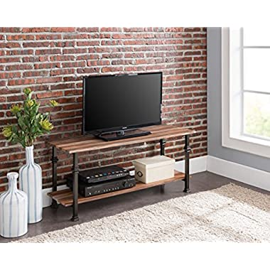 eHomeProducts 2-tier Weathered Oak/Metal Frame Industrial Style Entertainment Plasma TV Table Stand by