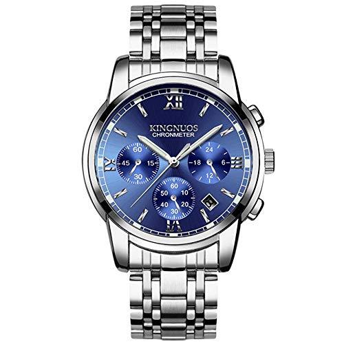 ZSDGY Reloj de Pulsera de Acero de 3 Ojos y 6 Pines para Hombres, Reloj de Cuarzo Impermeable para Hombres Luminosos, Reloj de Oficina G