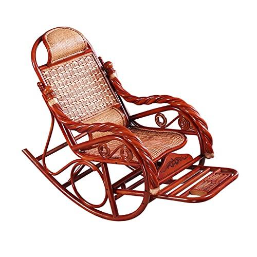 HQQ Rattan Rocking Silla de Ocio balcón reclinable con reposapiés de Masaje retráctil 108x62x52cm