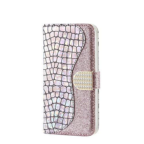 WJMWF Compatible avec Coque Samsung Galaxy Note 10 Glitter PU Cuir Wallet Flip Protective Cover Fermeture Magnétique avec Fente pour Carte Anti-Choc Housse Etui-Argent