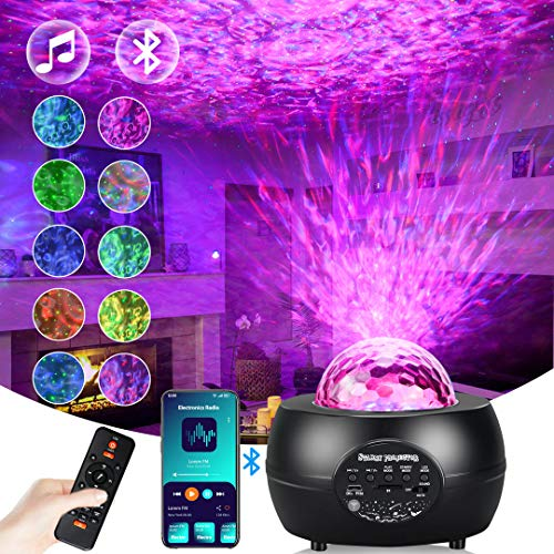 Star Projector, 2 in 1 Ocean Wave Projector Night Light with Remote Control, 10 Colorful Modes, Speed Adjustable, Build-in Bluetooth Speaker, Voice Control, 1/2/4 H Timer for Bedroom/Kids/Parties