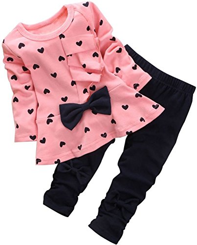 BomDeals Baby Girl Cute 2pcs Set Children Clothes Suit Top and Pants (Age(3T), Pink)