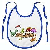 Babero Personalizado con el Nombre del bebé- cualquier nombre- Regalo Original para Recien Nacidos, bebés y niños Dinosaurio azul [096]