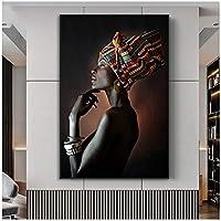 アフリカの壁アートポスターとプリントエレガントな黒人女性キャンバス絵画モダンポップリビングルームの装飾壁画クアドロス60x80cm(24x32in)