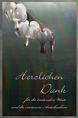 Trauer Danksagungskarten Trauerkarten ohne Innentext Motiv Tränendes Herz 10 Klappkarten mit weißen Umschlägen Dankeskarten Dankeschön Karten Danke sagen (K/H37)