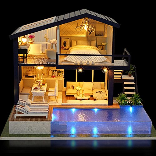France Cafe Tour Kisoy Romantic and Cute Dollhouse Miniature DIY House Kit Creative Room Perfect DIY Gift for Friends,Lovers and Families