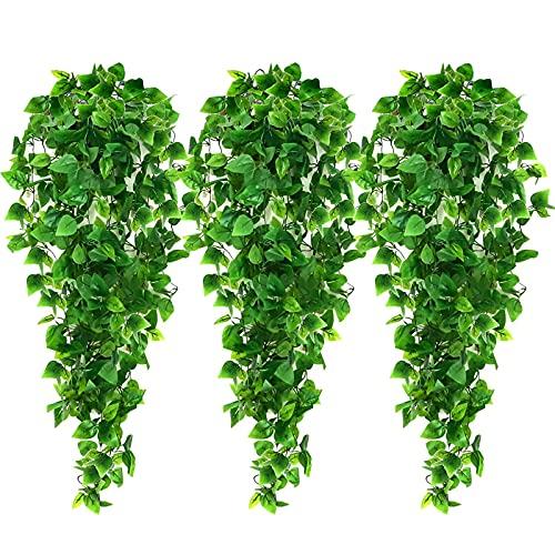 AGEOMET 3pcs Artificial Hanging Plants, 3.6ft Fake Hanging Plant, Fake Ivy Vine...