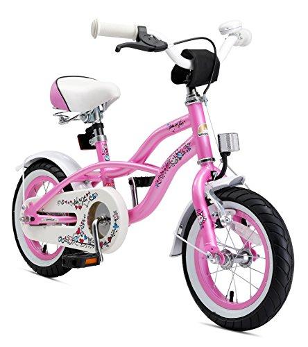 BIKESTAR Vélo Enfant pour Garcons et Filles de 3-4 Ans | Bicyclette Enfant 12 Pouces Cruiser avec Freins | Rose