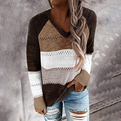 Mode Frauen Beiläufig Patchwork V-Ausschnitt Langarm Pullover Bluse Tops Damen Pullover Strickpullover Sweatshirt Gestreift Hoodie Pulli Herbst Oberteile Tops