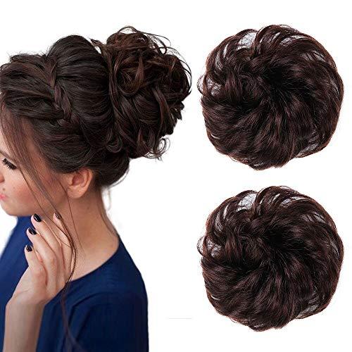 2 Stück chaotisch Haarknoten menschliches braunes Haar Haargummis für Frauen Damen Glam Touche Haarteile Extensions (4 #)