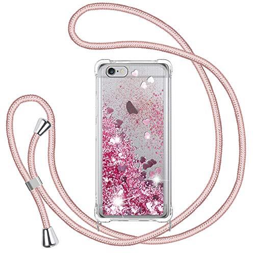 TUUT Handykette für iPhone 6/ 6s Glitzer Handyhülle, Glitter Flüssigkeit Smartphone Necklace Schutzhülle Hülle TPU Bumper Silikon Clear Back Cover, Gradient Quicksand Case in Rosa