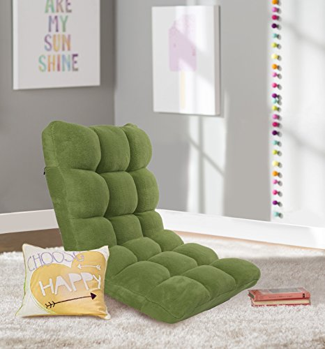 Iconic Home Daphene Microplush Modern Contemporary Armless Quilted Recliner Recliner Chair, Green