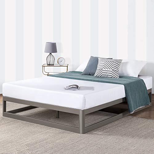 """Mellow Queen 12"""" Metal Platform Bed Frame w/Heavy Duty Steel Slat Foundation, Grey"""