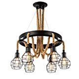 Vintage Chandelier, Bigfish Retro Steampunk Farmhouse Rope Ceiling Pendant Light with Cage Shades, 6-Head Industrial Ceiling Light Multiple Adjustable Hanging for Kitchen Island Dining Room