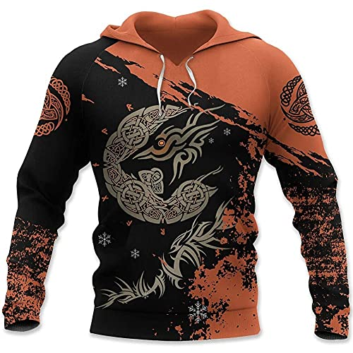 DFWY Mitología Nórdica Celtic Crow Tattoo Viking Pullover Hoodie para Hombres, Odin Symbol Totem Print Sudaderas, Medieval Large Size Drawstring Long Sleeve Clothing (Color : Raven, Size : S)
