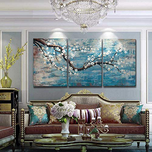 "Extra Large Wall Art for Living Room 100% Hand-Painted Framed Decorative Floral Oil Painting Set Decorative Modern Blue Tree Artwork Ready to Hang 72""x36"""