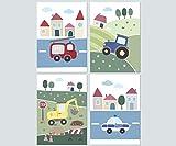 LALELU-Prints 4er Set Bilder Kinderzimmer Deko Junge Poster