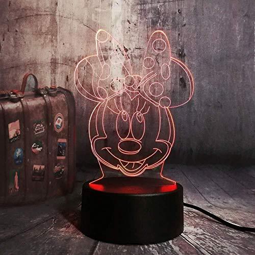 3d lampara de la noche Luz De Noche Led Minnie Mouse Head lámpara de escritorio creativa para cumpleaños Con carga USB, control táctil de cambio de color colorido