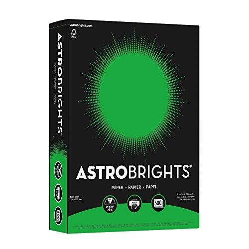 """Neenah Astrobrights Color Paper, 8.5"""" x 11"""", 24 lb/89 GSM, Gamma Green, 500 Sheets (21548)"""
