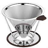 Ecooe Zwei Möglichkeiten Kaffeefilter Edelstahl Handfilter Permanentfilter Geeignet für 1 bis 4 Tassen Kaffee