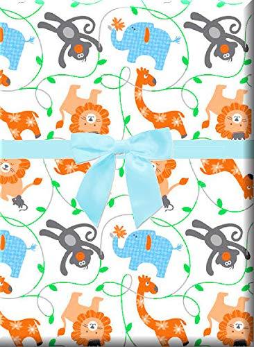 Safari Animals Monkey Lion Elephant Giraffe Gift Wrapping Paper -15ft Roll