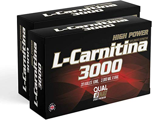 L Carnitine 3000-20 fiale | Liquido | L-carnitina con vitamina C | Bruciagrassi | Integratore sportivo, PACK 2-40 fiale - Qualnat