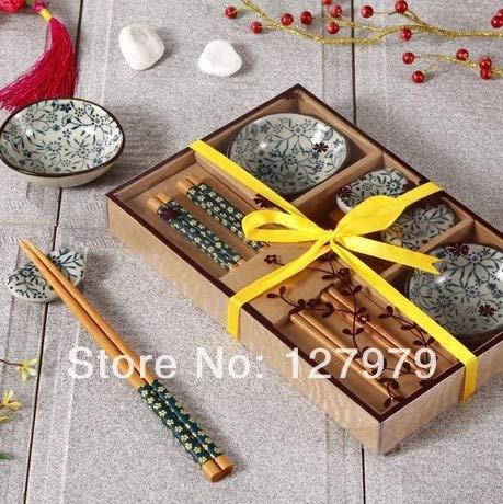 YYSD Juego de vajilla de cerámica de Viento Chino Platos de Estilo japonés con Cajas de Regalo Juego de Sushi de Alta Gama