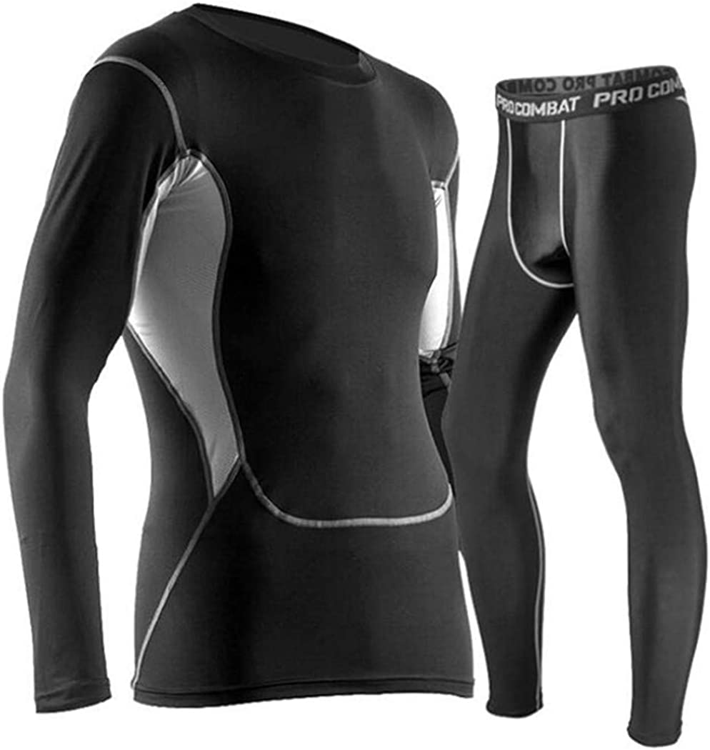 Men Thermal Underwear Sets,Compression Fleece Sweat Quick Drying Thermo Base Layer,Winter Fitness Underwear Clothes