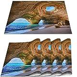 COFEIYISI Manteles Individuales Juego de 4,Cuevas del Algarve Portugal Playa pequeña Cuevas Grandes Salvamanteles Resistentes al Calor Lavables Vinilo PVC para la Mesa de Comedor de Cocina 30x45cm