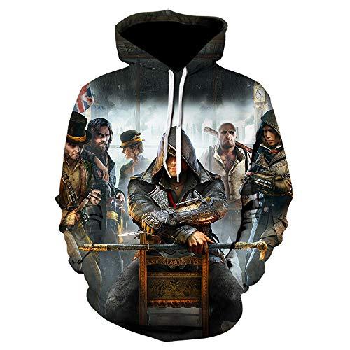 3D Assassin'S Creed Sudadera Personalidad Impreso Pullover Jumpers Sudaderas con Capucha Sudaderas Estampadas Jersey de Manga Larga Assassin'S Creed Pullover Chaqueta-A_S